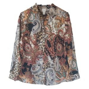 NWT Chicos 2 Animal Paisley Button Front Shirt